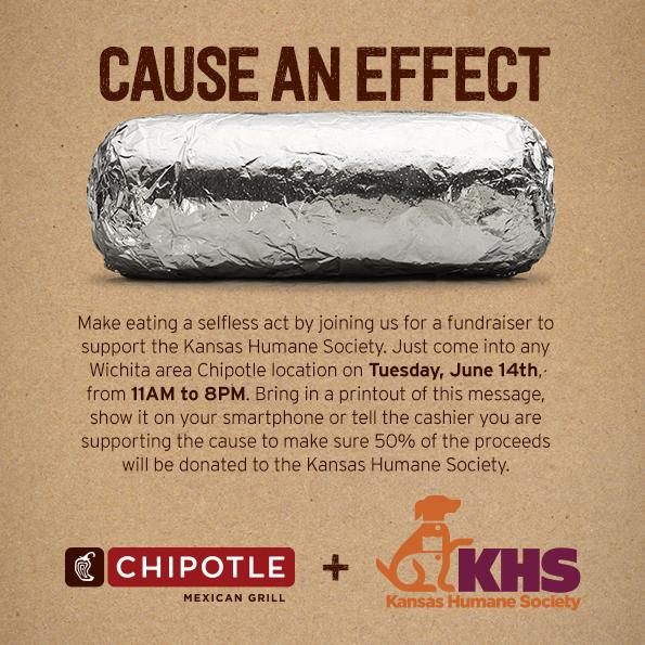 UPDATE :: Chipotle - Tuesday, June 14 - 50% Proceeds to Help Animals
